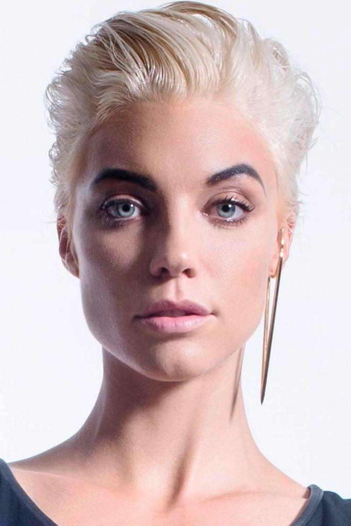 Blonde Pompadour Wedge Haircut