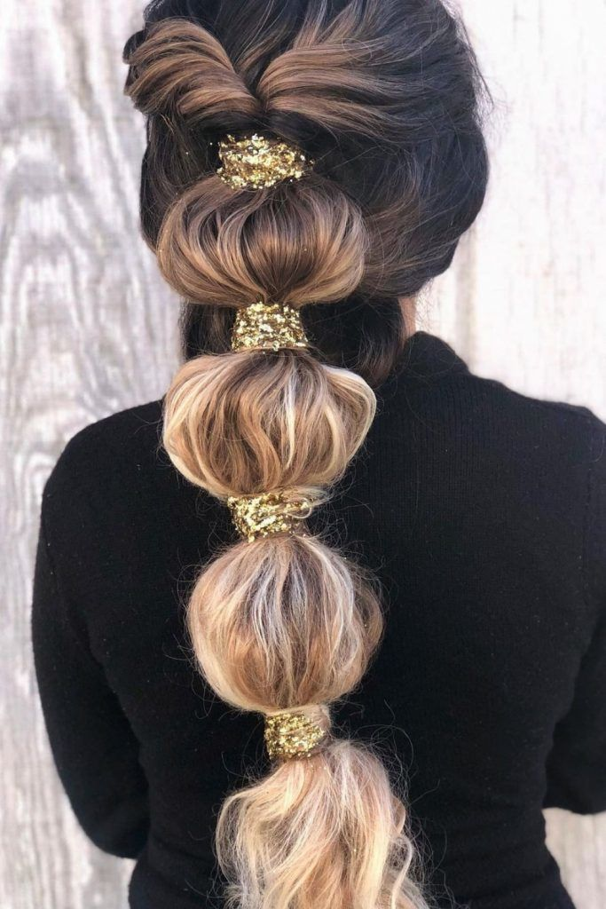 : Half-Up Style Bubble Ponytail