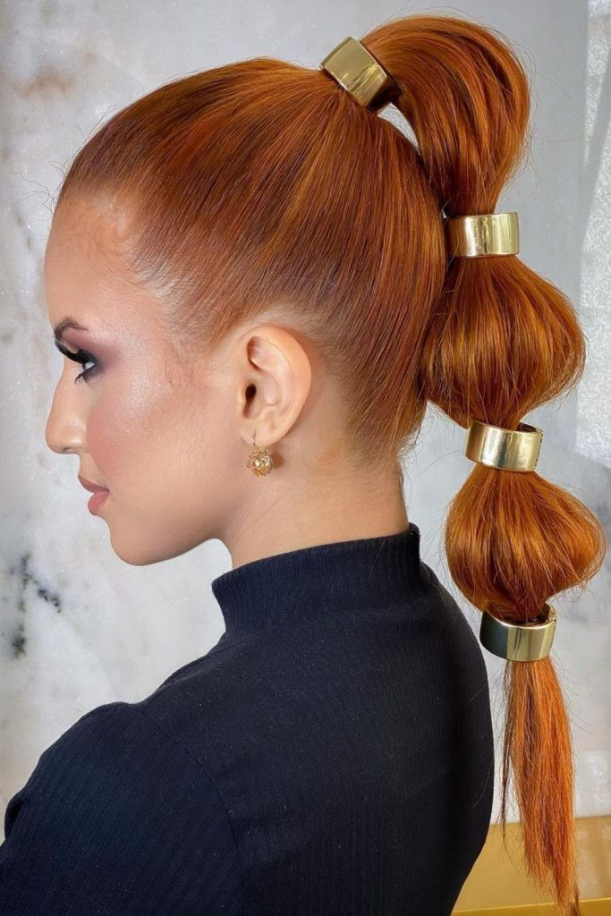 Bubble Ponytails With Metal Accessories