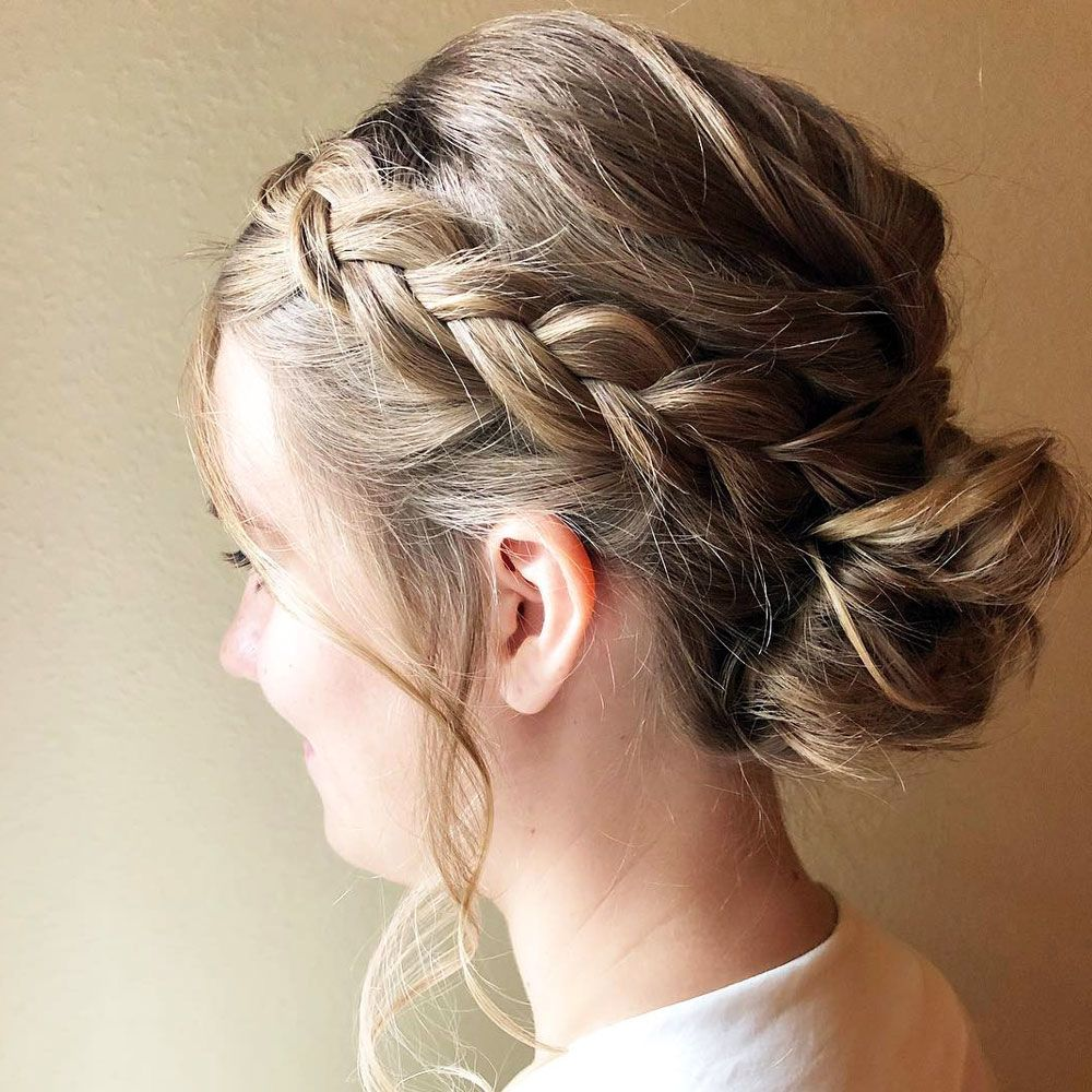 Side Braid And Low Bun Hairstyle
