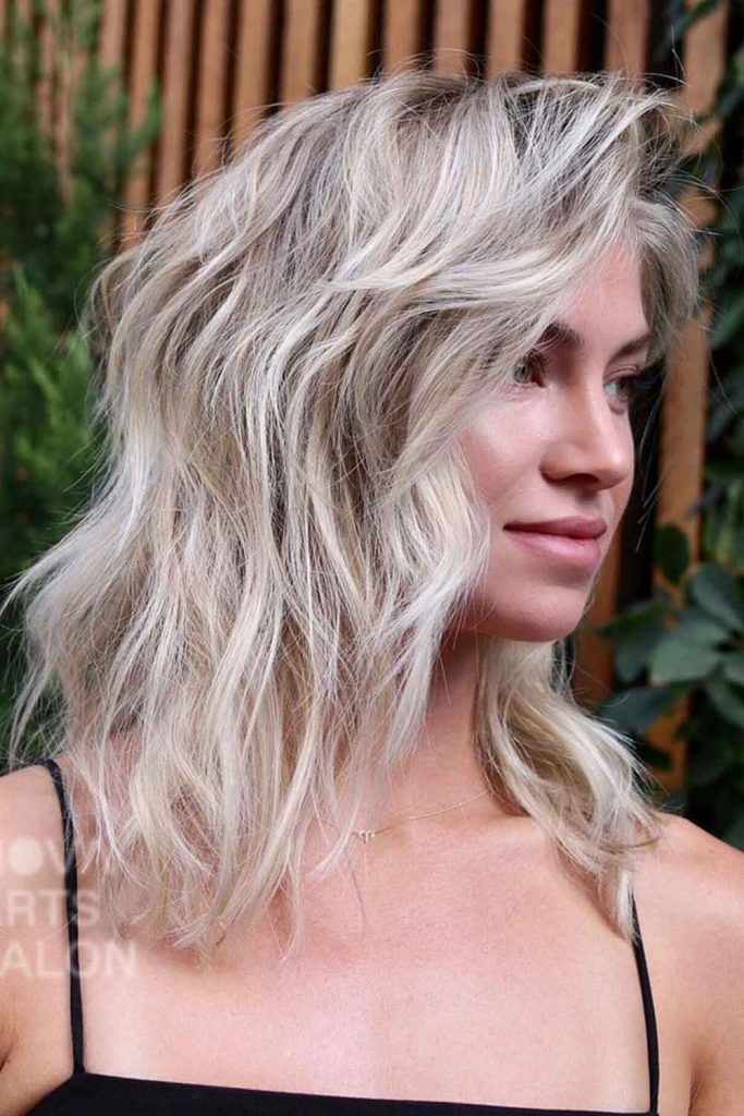 Icy Blonde Long Hair With Side Bangs