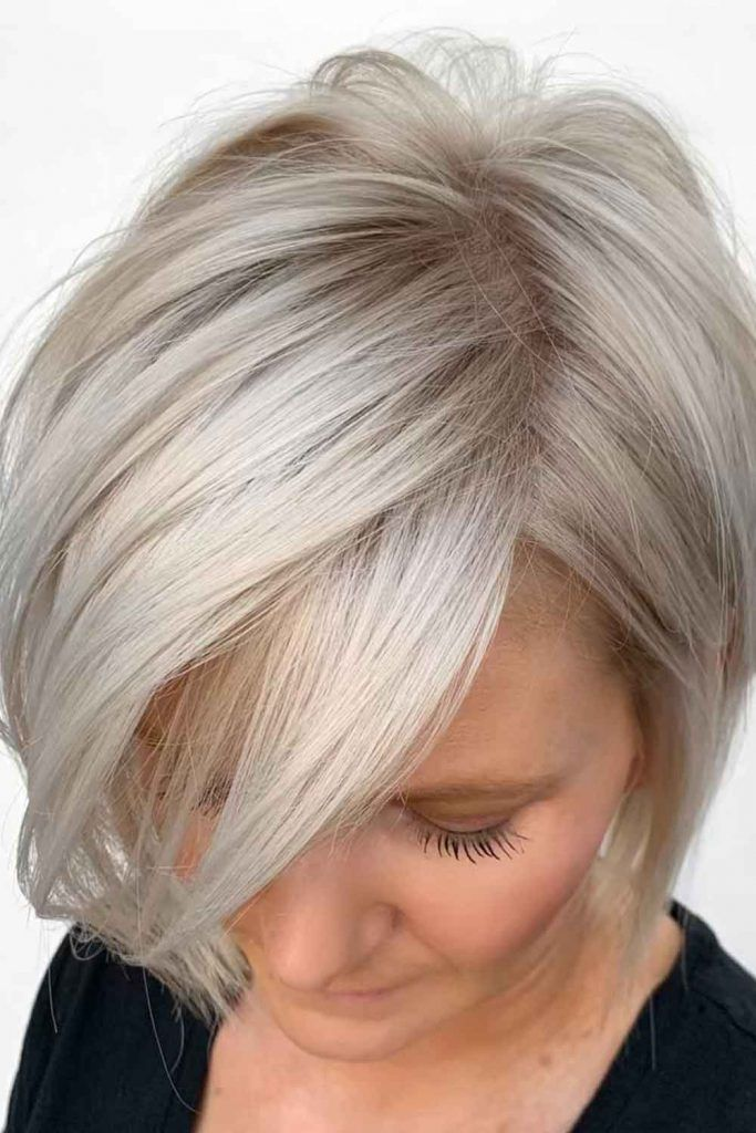 Straight Medium Hairstyles With Side Bangs