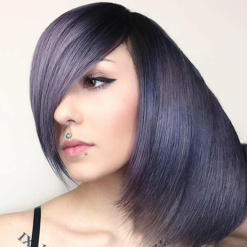 Side Parted Straight Layered Bob