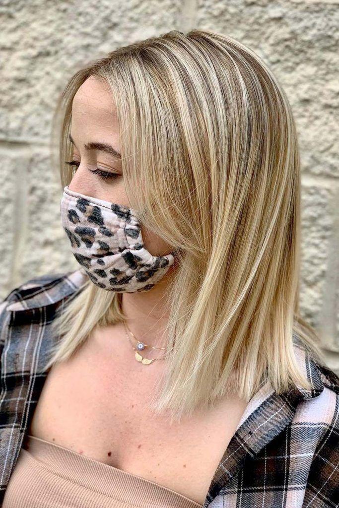 Medium Blonde Hair With Curtain Bangs