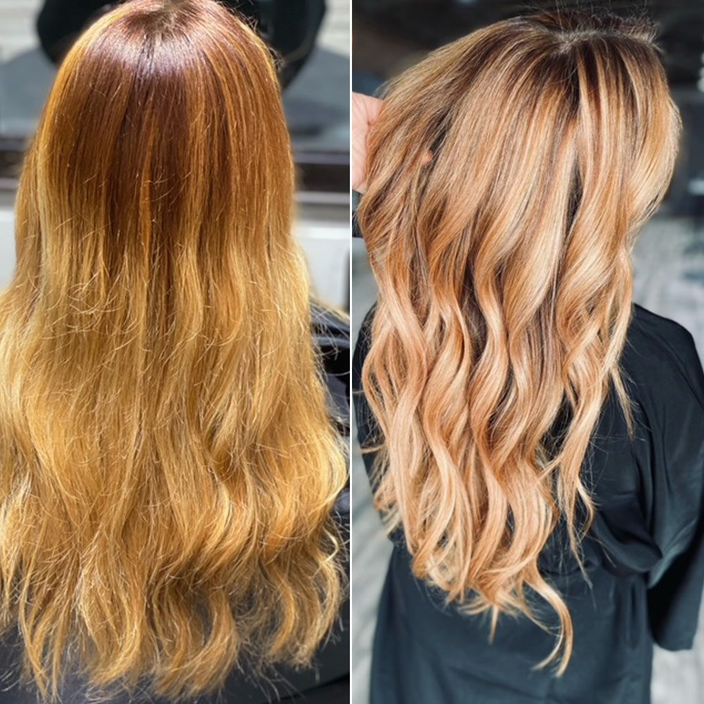 Before After- strawberry blonde