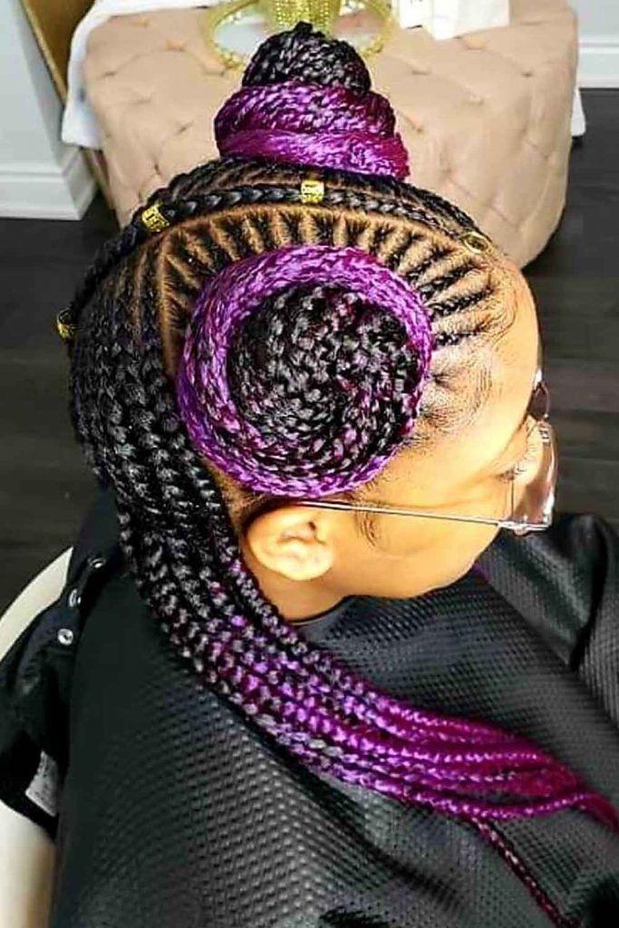 Lavender Braids And Bantu Knots
