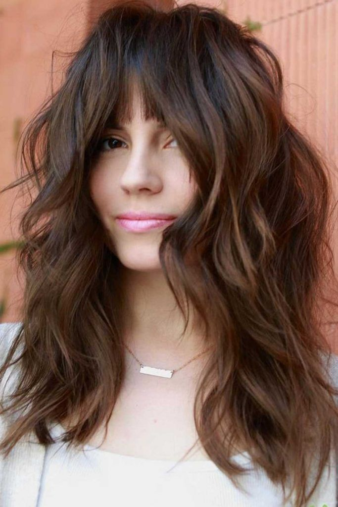Medium Hair With Center Parted Bangs