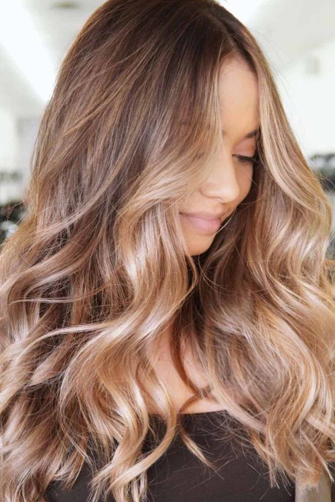 Brown Highlighted Hair With Golden Blonde Streaks