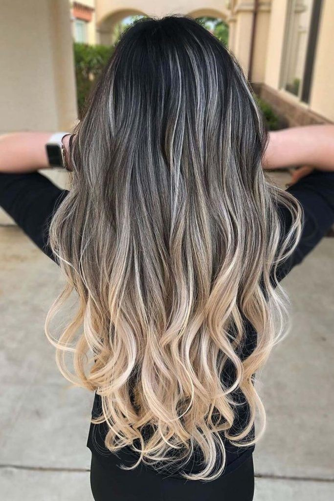 Black Hair With Blonde Highlights and Ombre