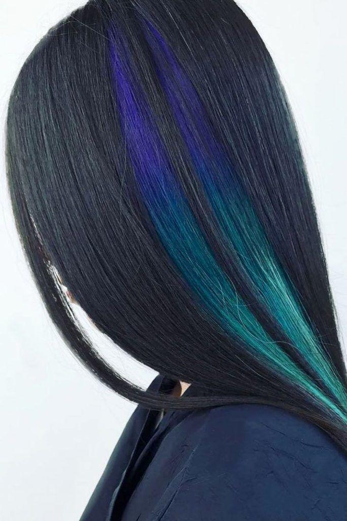 Most Popular Hair Highlight Types: Blue Peekaboo Highlights