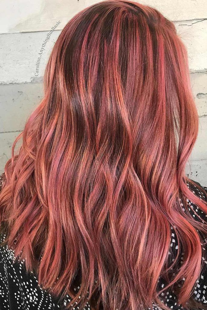 Dusty Red Hair With Highlights