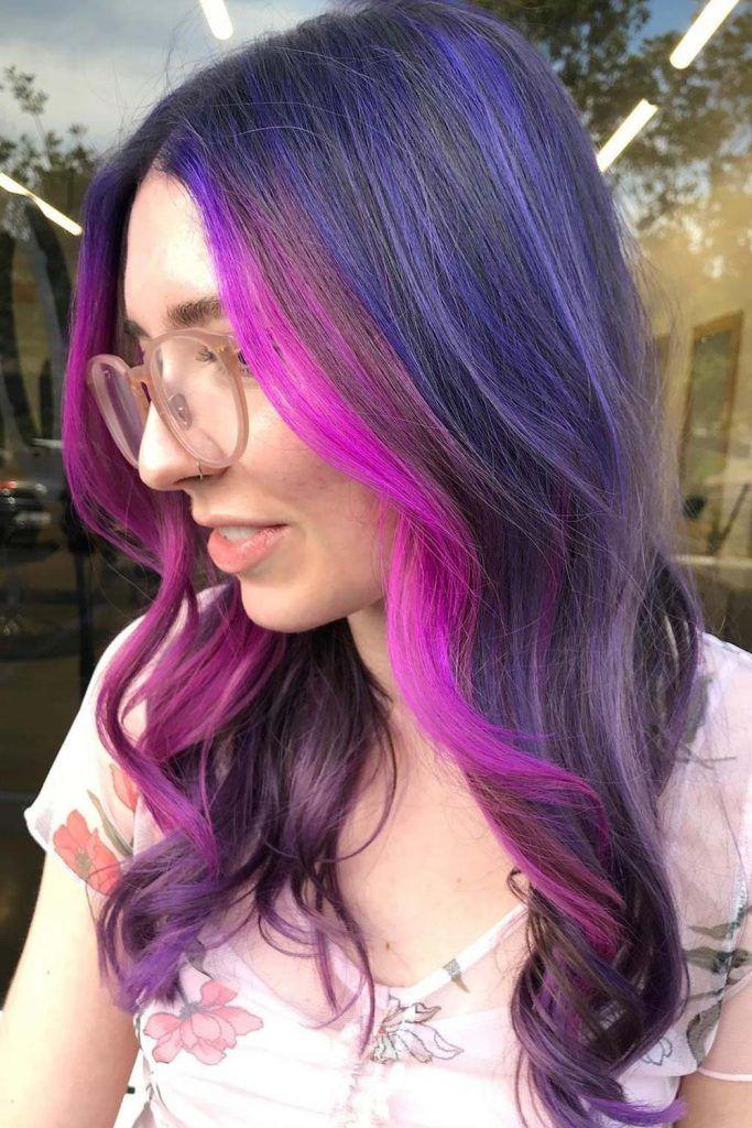 Purple Face-Framing Highlights Hair Ideas