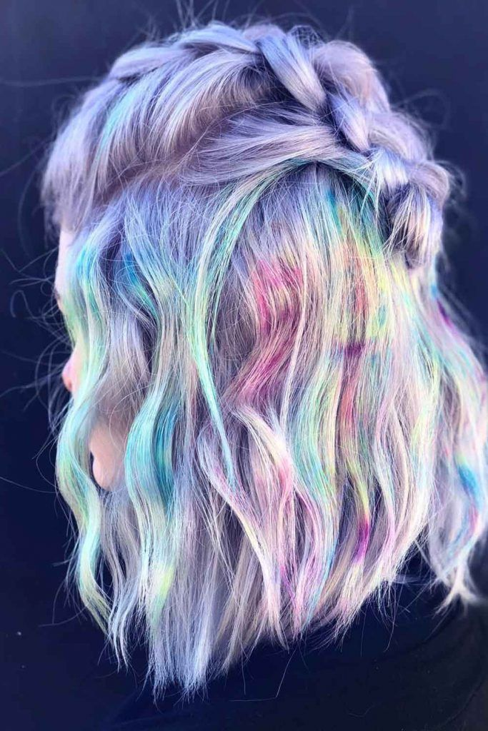 Pastel Rainbow Hair Color for a Wavy Short Inverted Bob