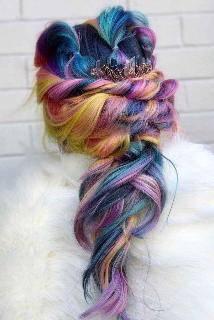 Dark Rainbow Hair With Tropical Sunset Colors