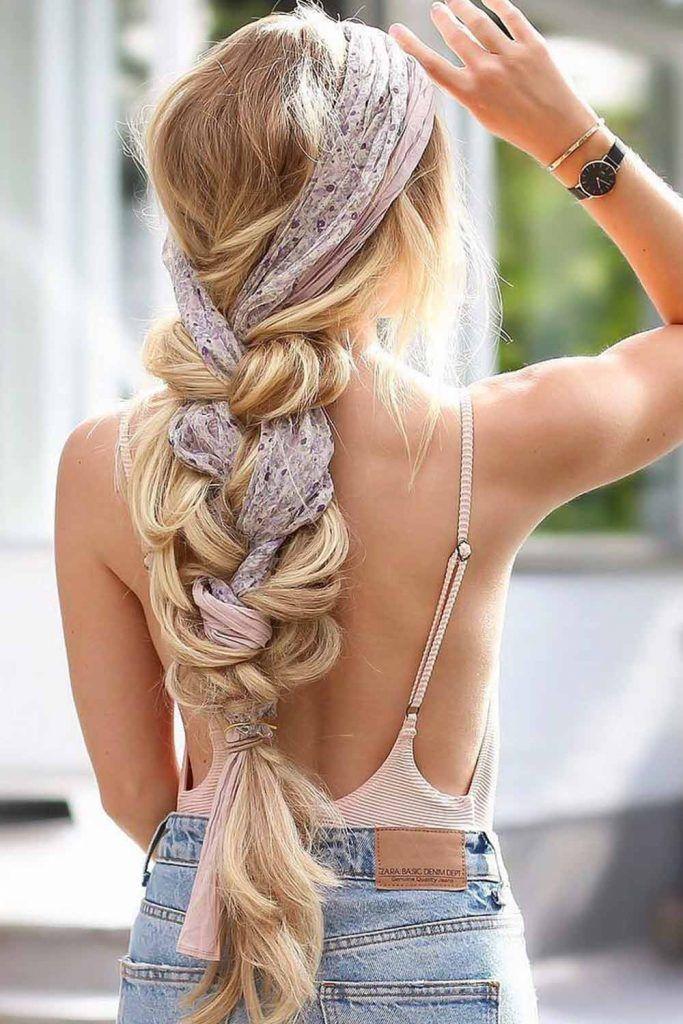 Side Braid With Silk Scarf