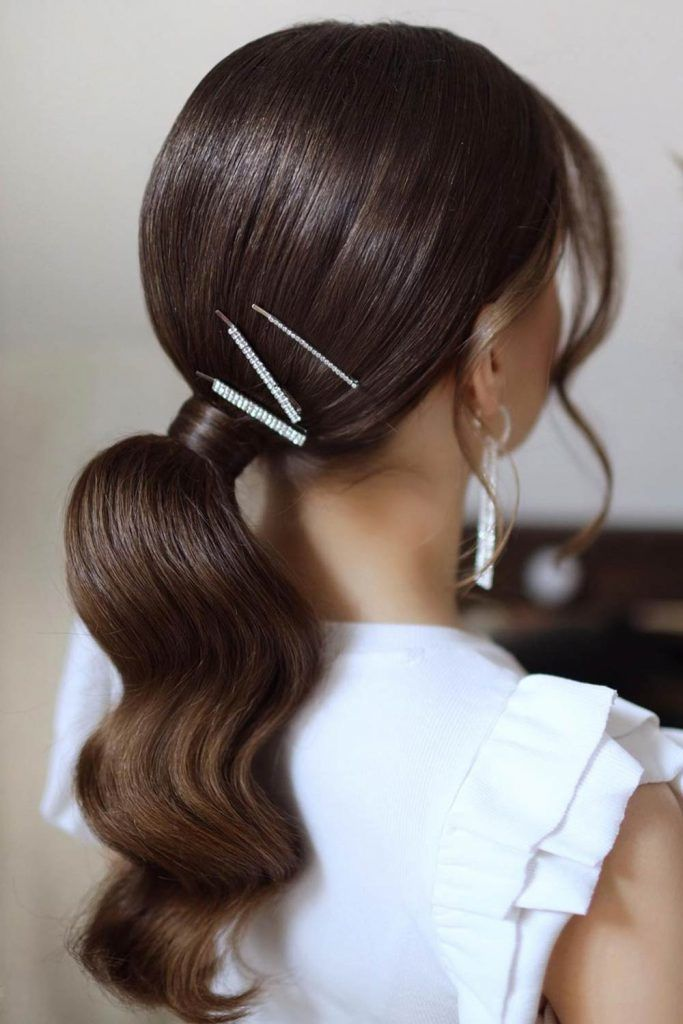Low Pony Hairstyles With Bangs