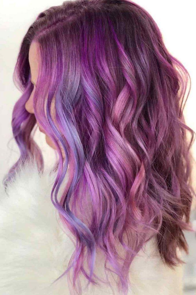 Smoky Mauve Long Layered Hair