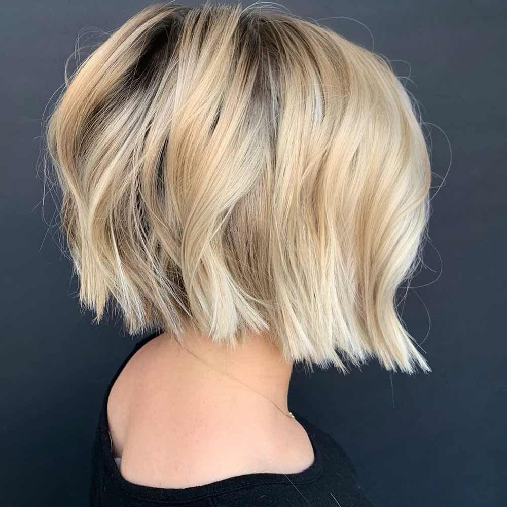 Creamy Blonde Hair With Dark Roots