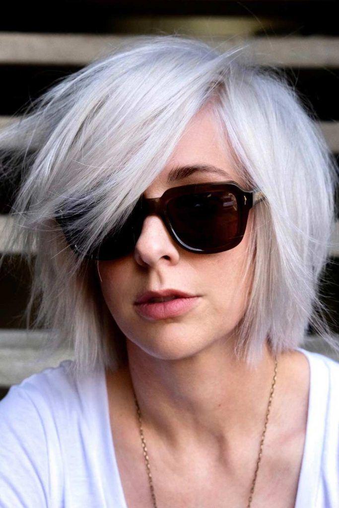 Medium Layered Bang With Square Sunglasses