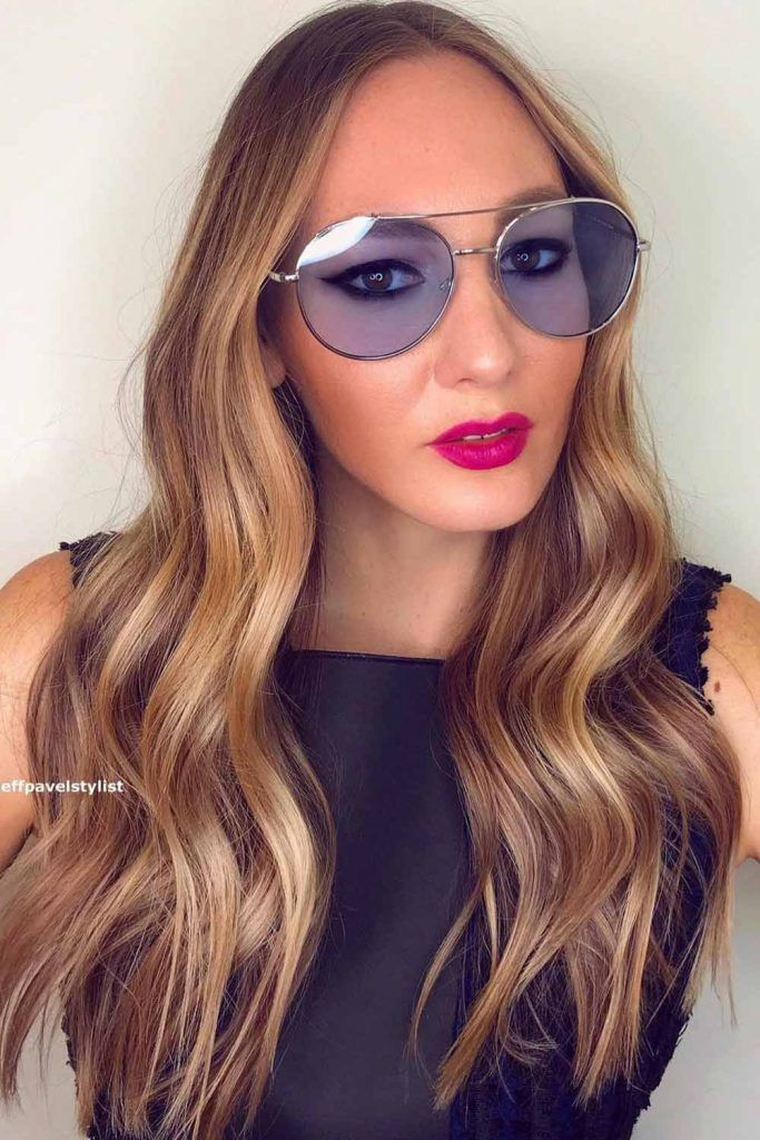Long Dirty Blonde Hair With Oval Sunglasses