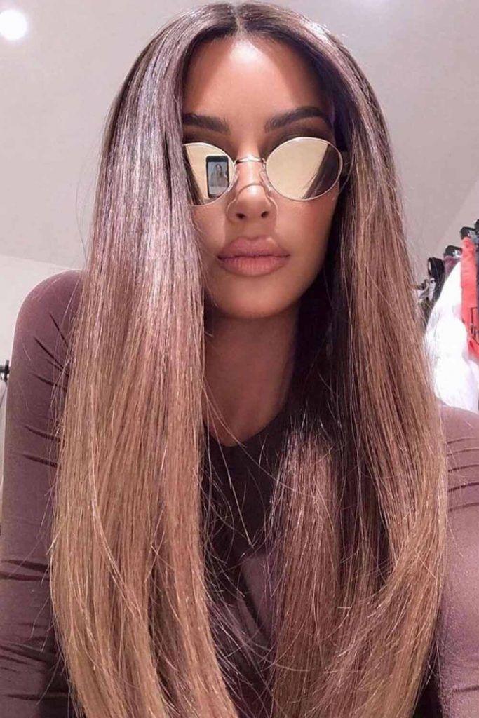 Long Ash Brown Sleek Hair With Oval Cat-Eye Polarized Lenses