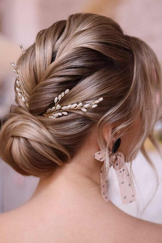 Sweet Low Updo For Wedding Day