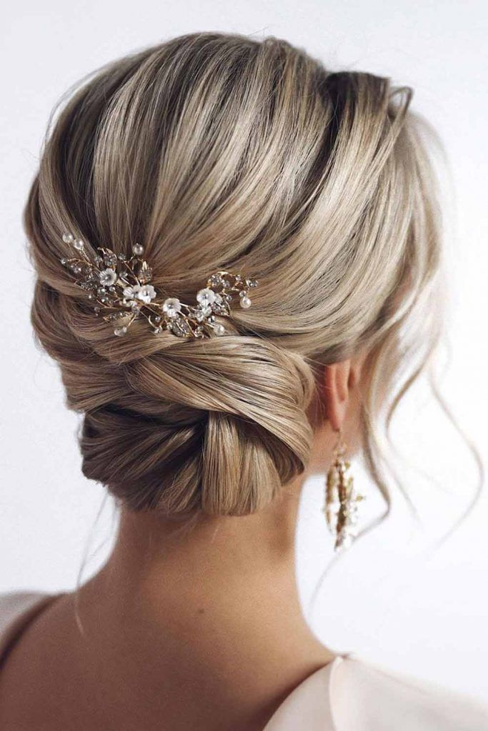 Twisted Updo with Jeweled Barrette