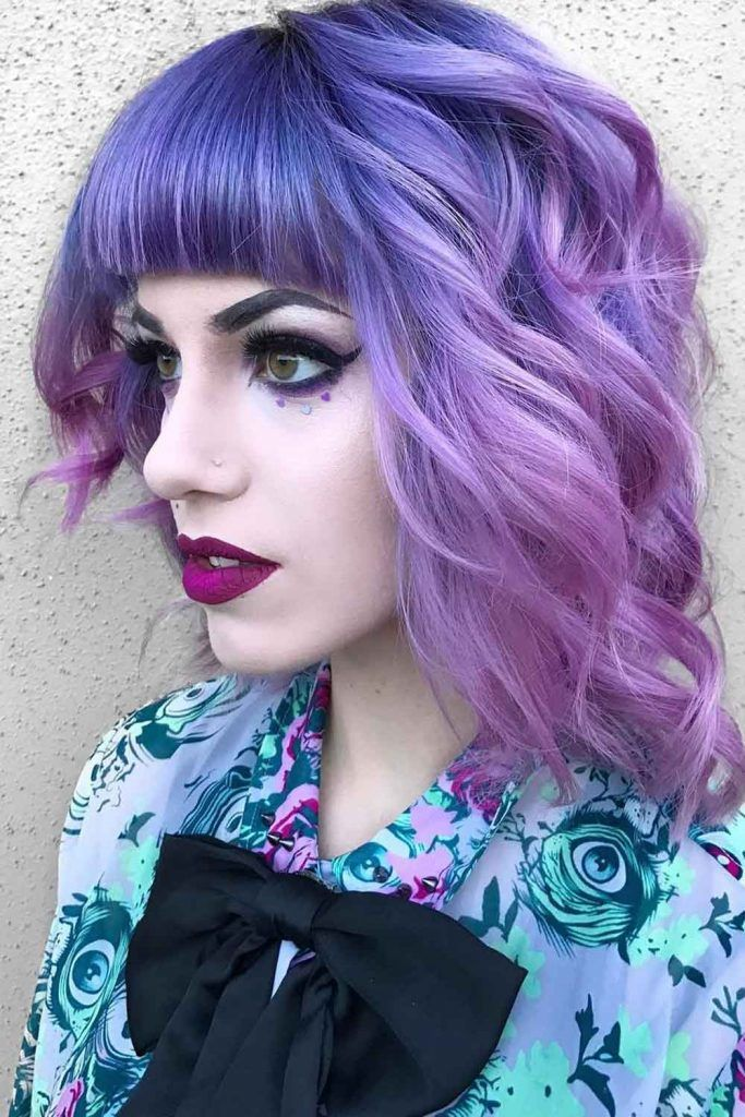 Metallic Lilac Wavy Bob