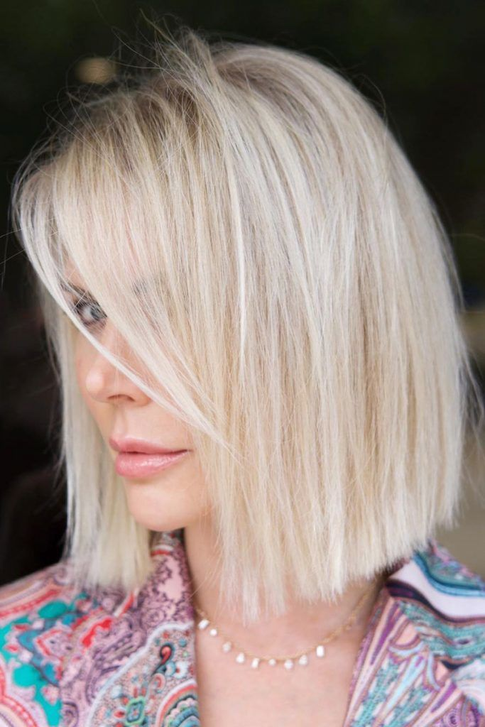 Side Parted Straight Bob Haircut