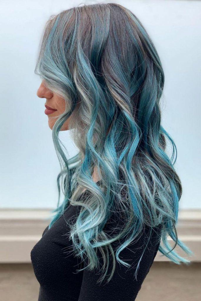 Grey Silver Style with Deep Sky Blue Hair Highlights