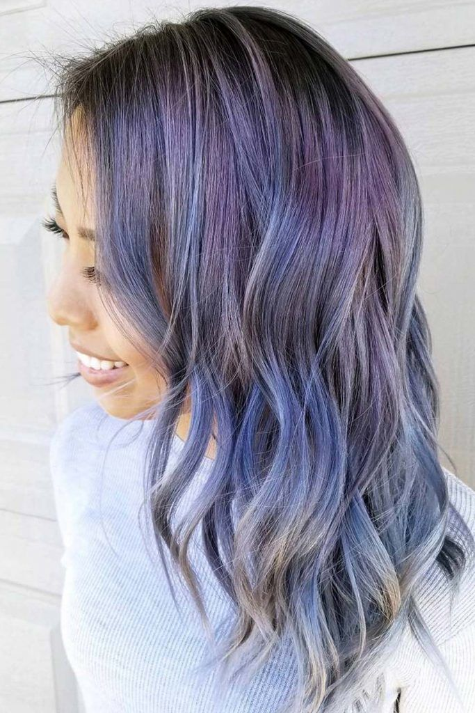 Dusty Blue and Violet Highlights