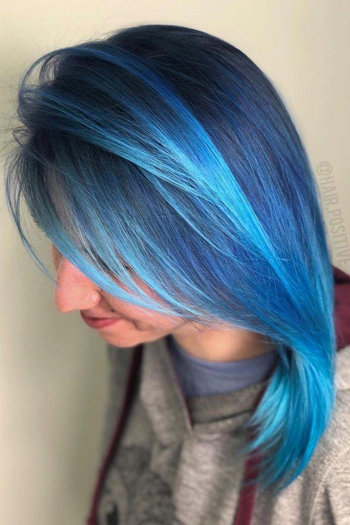 Bright Blue Hair with Light Aqua Highlights