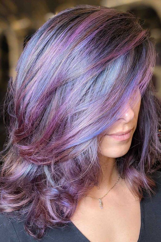 Purple Hair with Dusty Blue Highlights