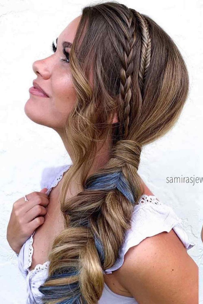 Fishtail Braid With Accent Slide-Up 4-Strands