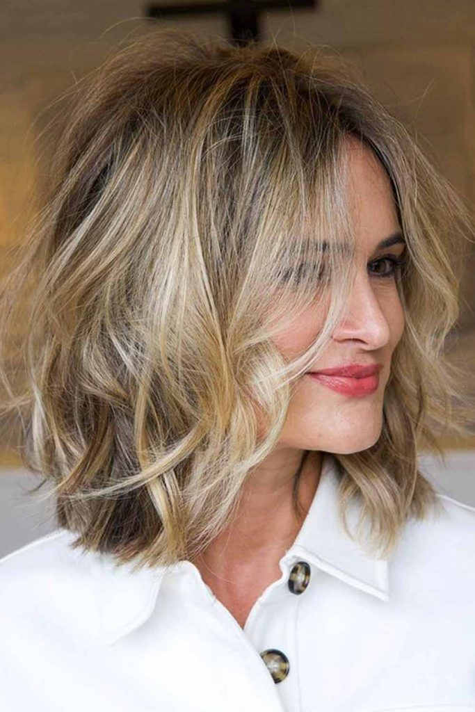 Slightly Shaggy Mid-Length Bob Haircuts For Square Faces