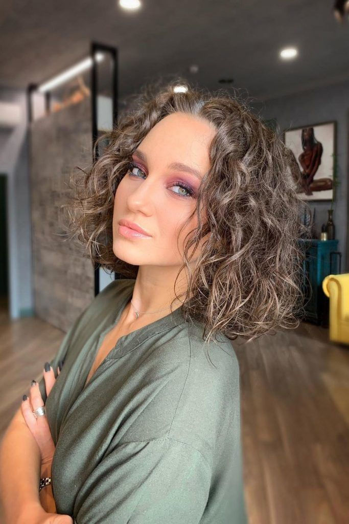 Curly Hair Bob with Middle Part