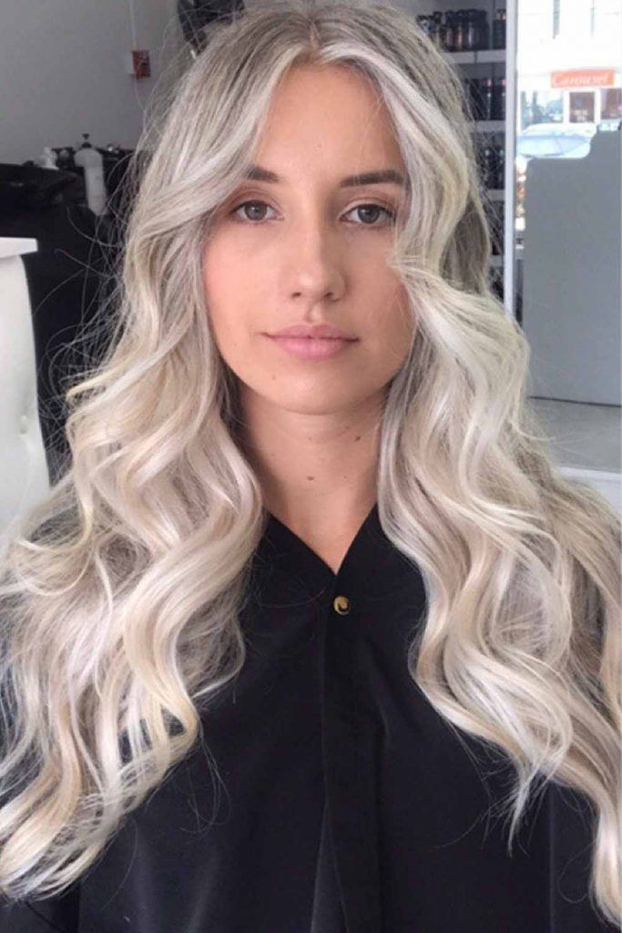 Icy Platinum Blonde With Shadow Roots