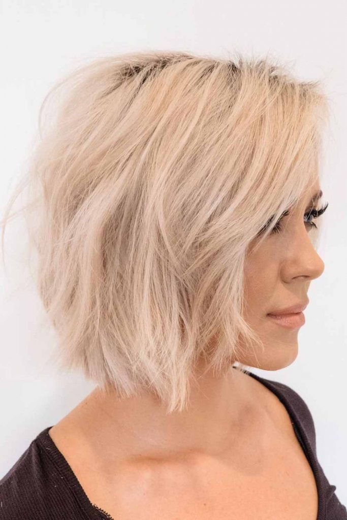 Medium Messy Waves With Side Bangs