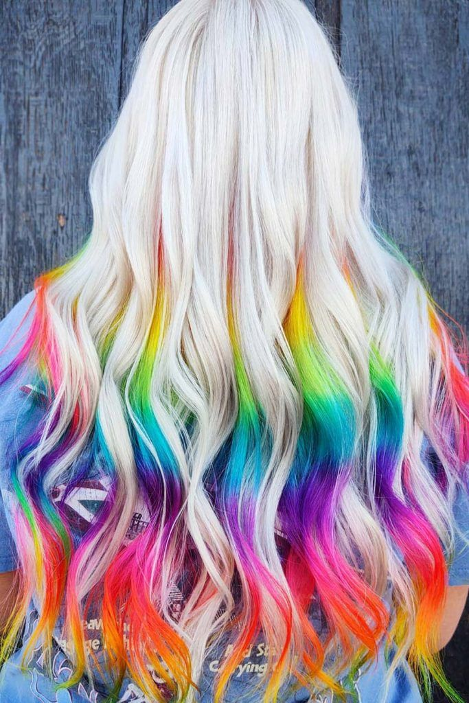 Bleached Hair With Rainbow Ends