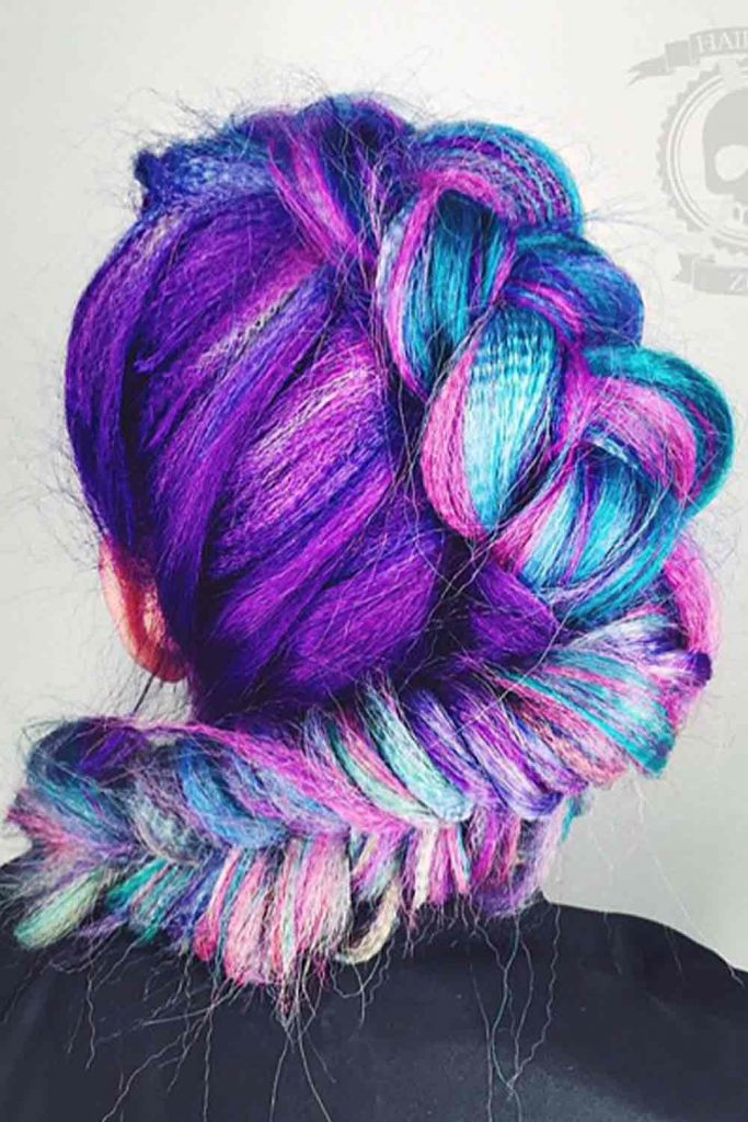 Fishtail Braid For Your Purple Hair