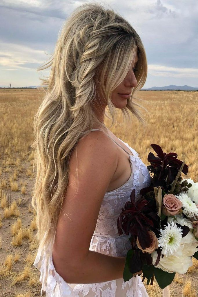 Long Hair with Side Braid and Curtain Bangs