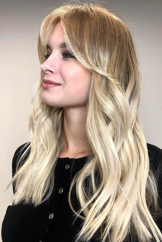 Long Ombre Hair and Long Bangs Combo