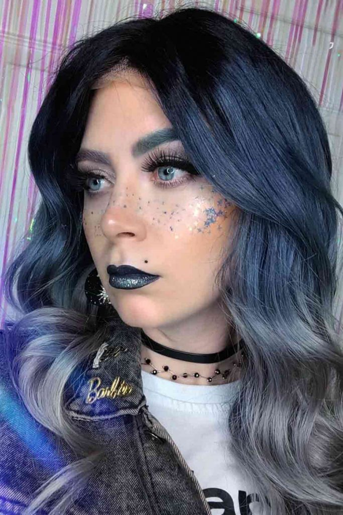 Dark Blue Metallic Hair Color
