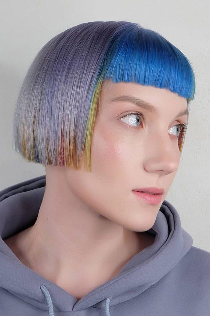 E-Girl Hair With Blue Bangs
