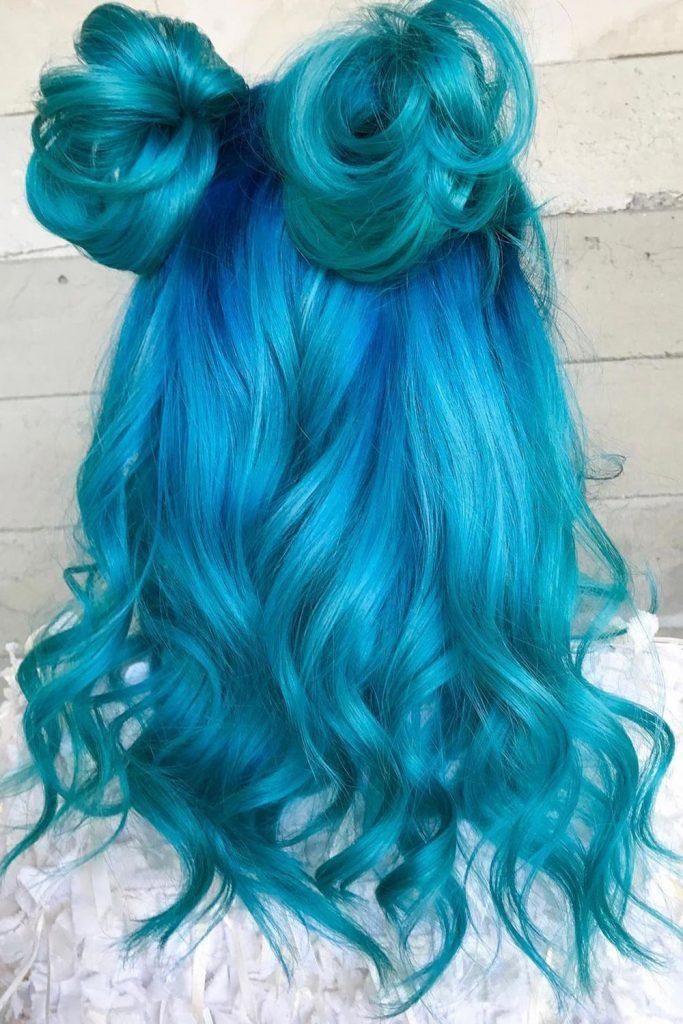 Bright Blue Hair Pigtail Knots