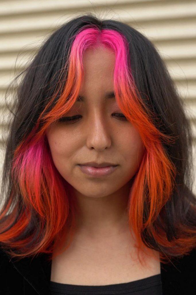 Pink Highlights on Brunette Hair