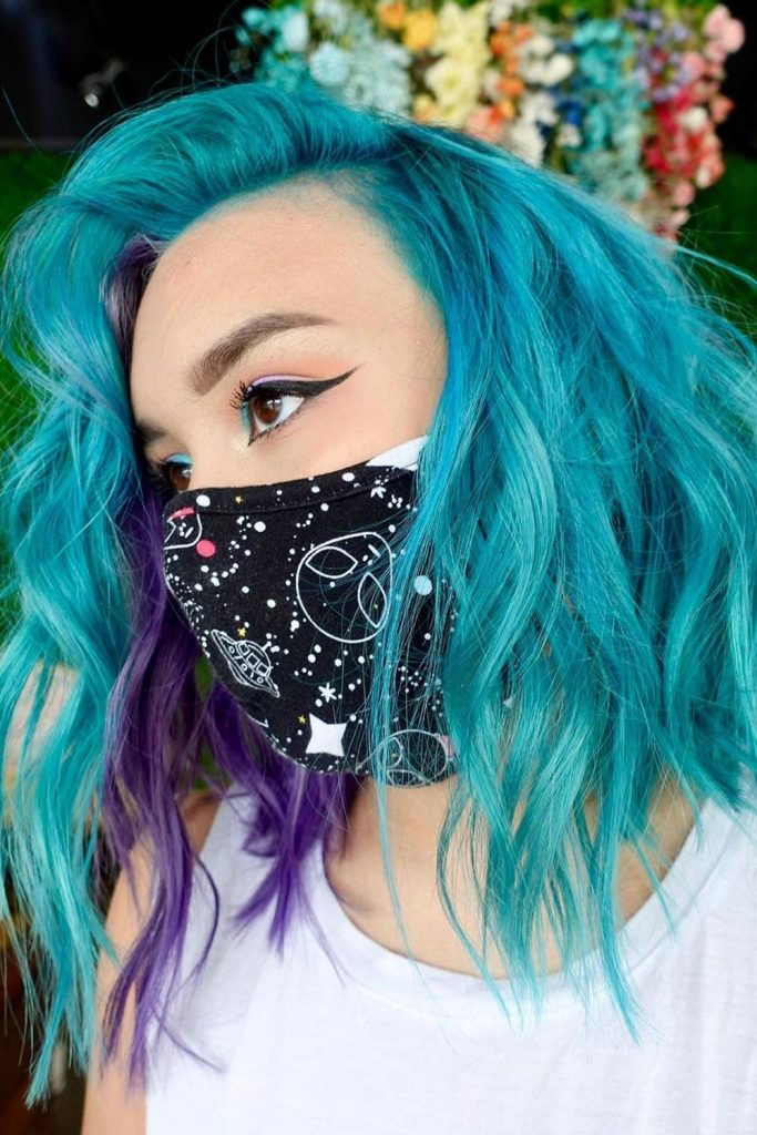 Purple Highlights and Ocean Blue Hair