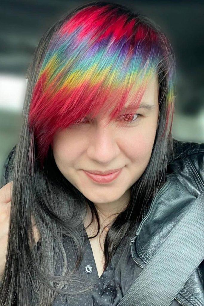 Rainbow E-Girl Bangs with Long Hair