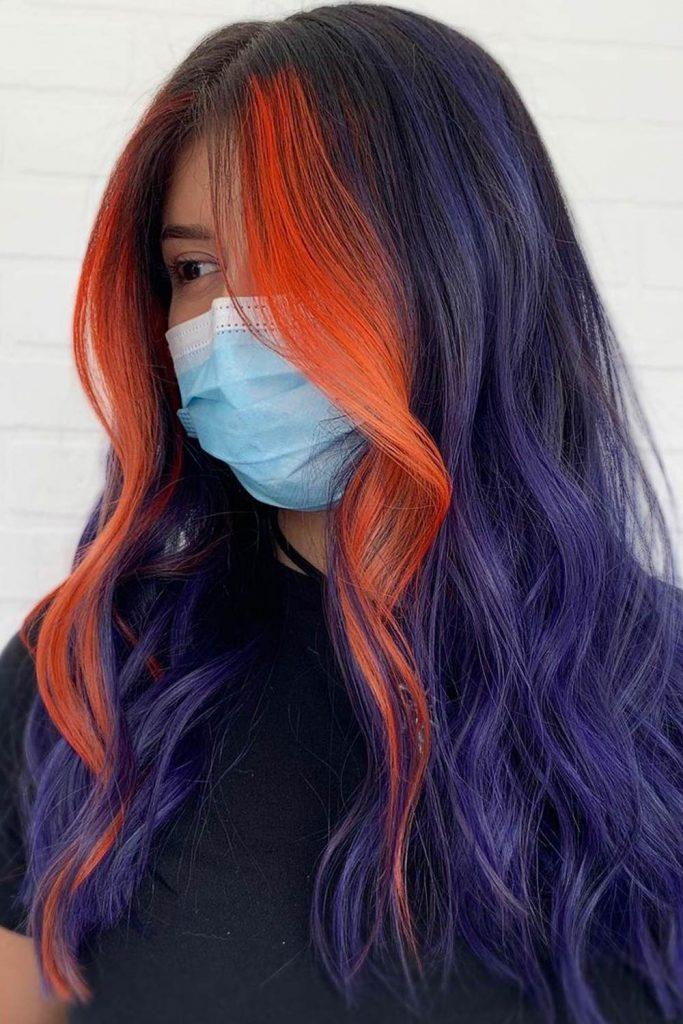 Orange Hair Highlights with Long Purple Hair