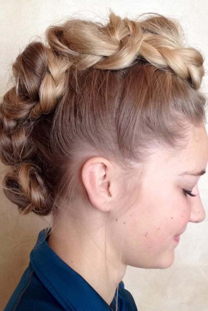 Faux Hawk Hairstyle With Triple Buns